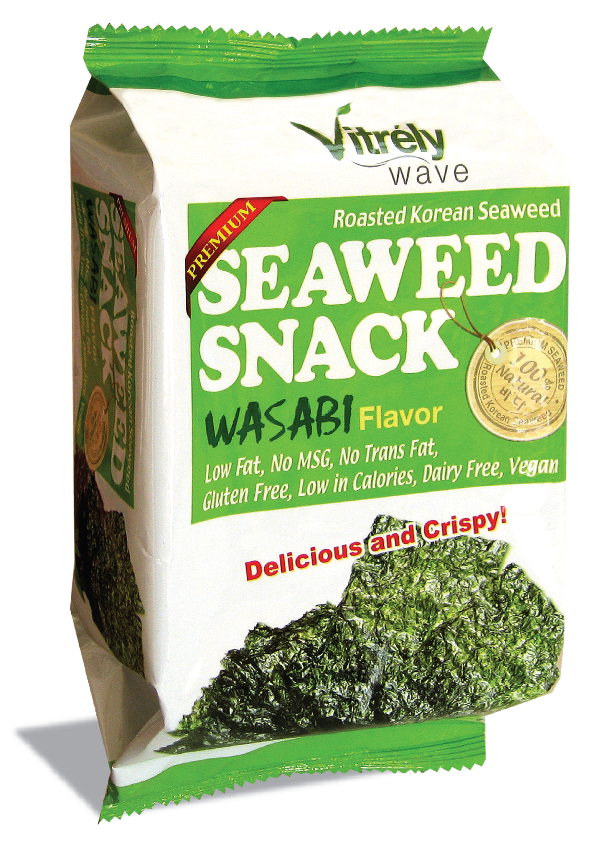 VITRELY WAVE)ROASTED KOREAN SEASONED SEAWEED SNACK, WASABI FLAVOR 10g*12