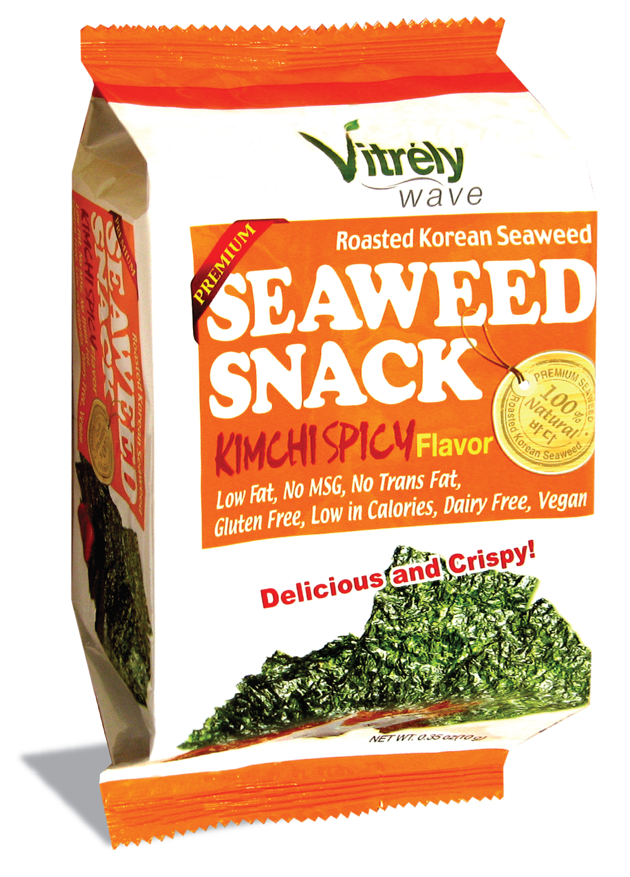 VITRELY WAVE)ROASTED KOREAN SEASONED SEAWEED SNACK, KIMCHI FLAVOR 10g*12
