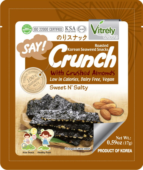 VITRELY WAVE)SAY CRUNCH SEAWEED SNACK WITH ALMOND, SWEET ALMOND FLAVOR [17g*12]