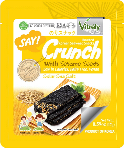 VITRELY WAVE)SAY CRUNCH SEAWEED SNACK WITH SESAME, SOLAR SEA SALT &  SESAME FLAVOR [17g*12]